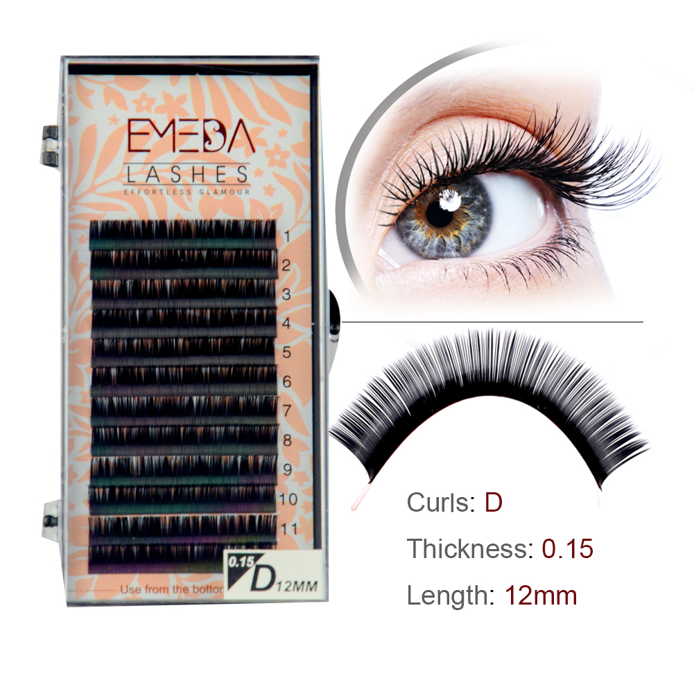 Popular silk eyelash extensions Individual lash private label JH09-PY1