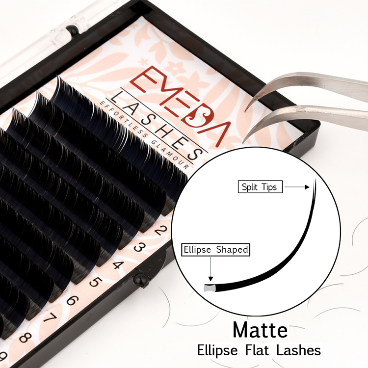 Ellipse Flat Eyelash Extensions Supplier Wholesale Individual Lash Extension