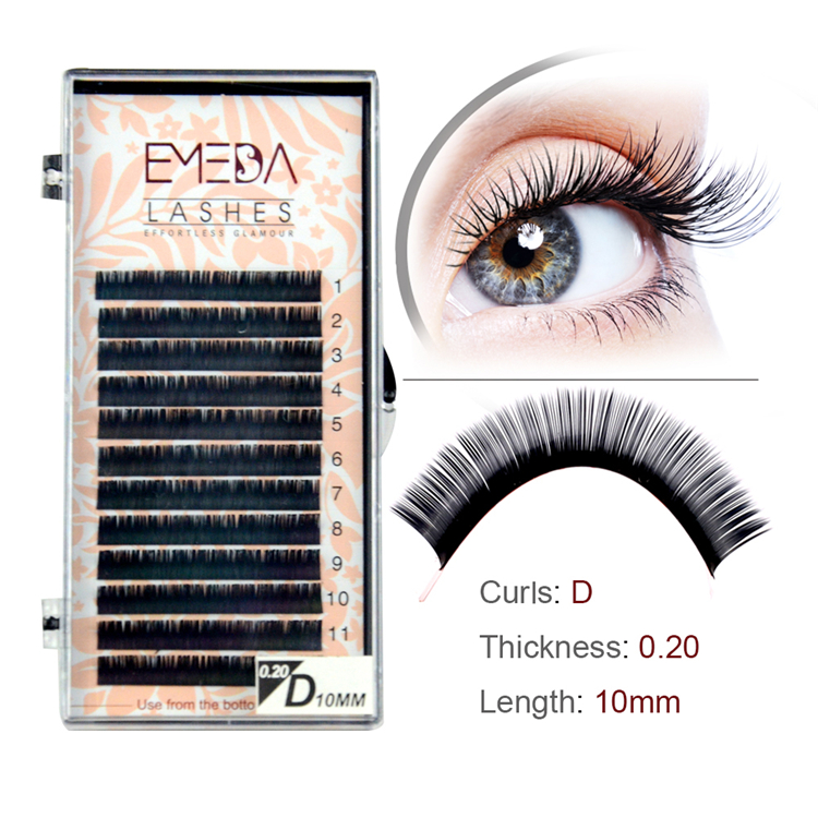 Glossy Black Synthetic Mink Eyelash Extension JS